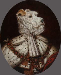 Portrait of a dog in a kings robes