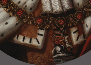 Portrait of a dog in a kings robes - detail of the chain