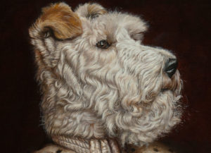 Portrait of a dog in a kings robes - detail