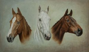 Portrait painting in oil of Aldiniti, Desert Orchid and Red Rum