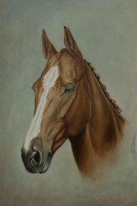 Portrait painting in oil of Aldiniti, Desert Orchid and Red Rum -detail of Aldiniti