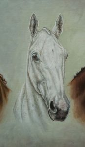 Portrait painting in oil of Aldiniti, Desert Orchid and Red Rum -detail of Desert Orchid