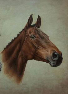 Portrait painting in oil of Aldiniti, Desert Orchid and Red Rum - detail of Red Rum